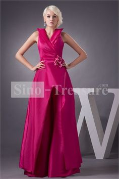 Amazing Fuchsia Taffeta/ Satin V-neck A-line Illusion Sleeves Prom Dress Wholesale Price: US$149.99