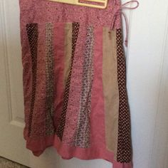 Paychwork, American Eagle Skirt Pink and brown patchwork cotton skirt, side zip and tie, worn a few times, but excellent condition American Eagle Outfitters Skirts