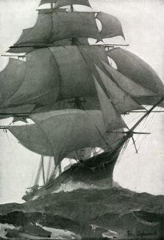the epic grandeur of billowing clipper sails in a full-blown gale