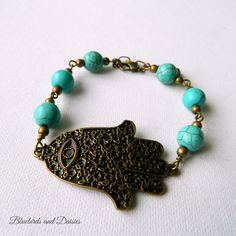 Hamsa Hand of Fatima Bracelet with by Bluebirdsanddaisies on Etsy