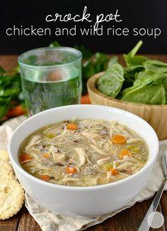 Crock Pot Chicken and Wild Rice Soup. Crock Pot Chicken and Wild Rice Soup Healthy Crockpot Recipes, Slow Cooker Recipes, Soup Recipes, Dinner Recipes, Cooking Recipes, Free Recipes, Chicken Recipes, Slow Cooking, Crockpot Meals