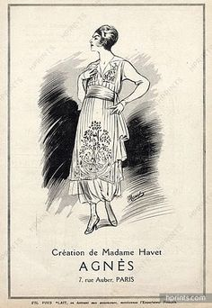 Maison Agnès (Madame Havet) 1918 Fashion Illustration