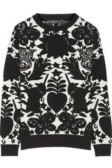 Alexander McQueen Jacquard-knit wool-blend sweater | NET-A-PORTER
