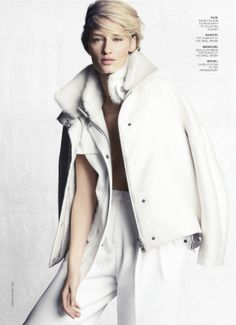visual optimism; fashion editorials, shows, campaigns & more!: white heat: linda vojtova by tesh for us marie claire october 2013