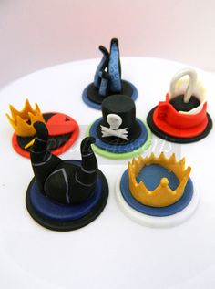 Edible Cupcake toppers Disney Villains Birthday Party Set -  Iconic Disney Villains Fondant cupcake decorations