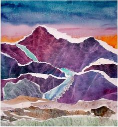 Torn watercolor landscape collage.