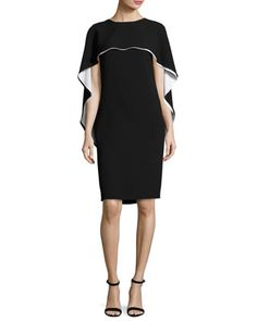 Two-Tone+Capelet+Shift+Dress,+Black+by+Escada+at+Neiman+Marcus.