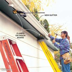 When installing gutters solo, use clamps to give them something to rest on as you fasten them in place.