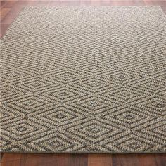 Diamond Sisal Rug A diamond pattern is woven from natural jute sisal in soft neutral tones. The finely serged edge gives this rug a clean look for today's casual modern lifestyles. Made in America. Eclectic Rugs, Eclectic Decor, Rug Under Kitchen Table, Entrance Rug, Plush Pattern, Grey Rugs, Color Shades, Diamond Pattern, Floor Rugs