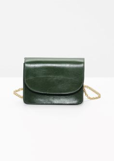 Other Stories image 1 of Golden Chain Flap Bag in Green