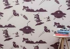 Buy online PaperBoy Final Frontier kids wallpaper in Stone & Purple. An alien invasion may well have been averted by the actions of one small boy. Space Themed Wallpaper, Kids Room Wallpaper, Stone Wallpaper, Feature Wallpaper, Purple Wallpaper, Cool Kids Rooms, Fashion Wallpaper, Small Boy, Purple Reign