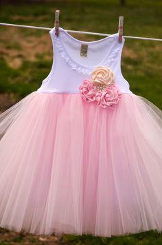 Rose Cluster Shabby Chic Flower Girl Wedding Birthday Tutu Dress Infant Toddlers Girls.