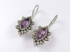 Fine sterling silver amethyst earrings