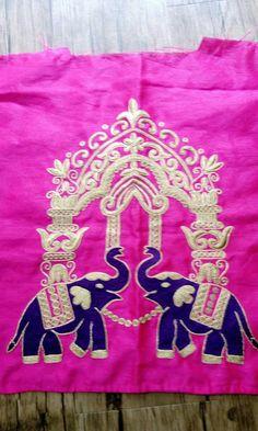 Zardozi Embroidery, Indian Embroidery, Hand Embroidery Designs, Diy Embroidery, Salwar Designs, Blouse Designs, Maggam Work Designs, Fabric Embellishment, Elephant Design