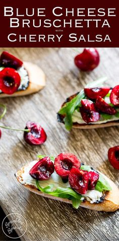 Creamy, salty blue cheese, peppery rocket and sweet juicy cherries. These Blue Cheese Bruschetta with Cherry Salsa are a delicious snack or appetiser. Best Appetizer Recipes, Yummy Appetizers, Yummy Snacks, Great Recipes, Snack Recipes, Favorite Recipes, Healthy Desserts, Summer Recipes, Delicious Recipes