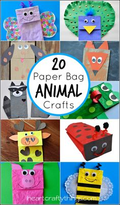 20 creative ideas for making Paper Bag Animal Puppets.