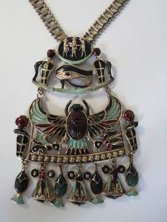 Sgnd Diorio's Egyptian Revival Scarab Enamel Bookchain Necklace Book Piece | eBay