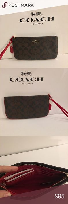 "Coach Clutch  Large Wristlet or a Clutch   Crossgrain leather Zip-top closure, fabric lining Inside multifunction pocket credit card pockets Strap with clip to form a wrist strap or attach to the inside of a bag 9"" (L) x 4 3/4"" (H). Comes with box, tag and gift receipt is available if you want! Coach Bags Clutches & Wristlets"