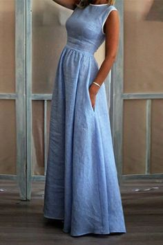 Natural Waistline Sleeveless Pockets Maxi Dress - Regocy Source by phoenix_asche maxi dress Maxi Dress With Sleeves, Dress Up, Dress Casual, Prom Dresses, Summer Dresses, Types Of Sleeves, Fashion Dresses, Clothes For Women, My Style
