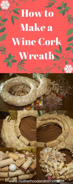 Wine Cork Wreath Christmas Craft An in depth tutorial with photos and instructions on how to make your very own wine cork wreath for the holidays or for any time! Popsicle Stick Christmas Crafts, Christmas Crafts For Toddlers, Holiday Crafts, Wine Cork Wreath, Wine Cork Crafts, Christmas Art Projects, Fun Projects, Project Ideas, Christmas Wreaths