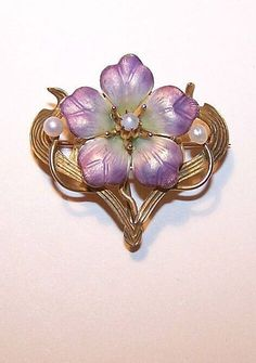 Scarce ART NOUVEAU 14K Gold, Enamel & Natural Pearl Floral Pin - from tquest on Ruby Lane