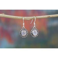 Superb Blue Moonstone Silver Earrings via Polyvore featuring jewelry, earrings, blue earrings, blue moonstone earrings, earring jewelry, silver jewellery and silver earrings