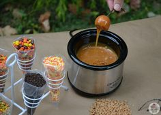Was FUN! But, couldn't get into balls so, just sliced them. Everyone LOVED it!!! Mini Caramel Apple Fondue- great for a Fall party