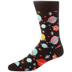 Yo Sox Galaxy Crew Socks ($6) ❤ liked on Polyvore featuring men's fashion, men's clothing, men's socks, black multi, mens colorful socks, mens cotton socks and mens cotton crew socks