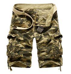Men's Loose Fit Camo Multi Pockets Cargo Short Pants/US STOCK #CamoMultiPocketsCargoShortPants #Cargo