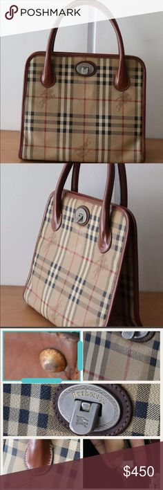 """100% AUTHENTIC VINTAGE BURBERRY ALMA BAG This is a gorgeous vintage burberry bag. It is a medium size bag that looks so classy and professional. Used in stunning condition for its age. Please examine all pics. Measures approximately 12"""" by 10"""". Burberry Bags"""