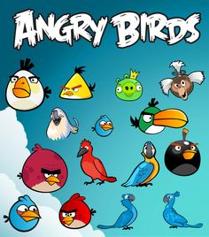 Angry Birds vector cartoon characters layered cutting file in Svg, Eps, Ai and jpeg format for Cricut and Silhouette by bullgraphics on Etsy