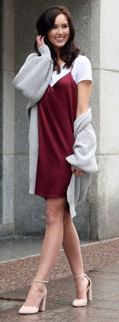 Slip dress transition to spring with maxi cardi and scallop pink pumps
