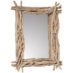 """Branch-style rectangular wall mirror. Product: MirrorConstruction Material: Mirrored glass and woodColor: TanDimensions: 33"""" H x 26.5"""" W x 3"""" DCleaning and Care: Wipe with a damp cloth"""