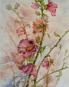 Hollyhocks  original watercolor painting.