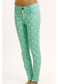 Polka Dot Skinny Jean - Mid rise skiny denim with polka dot print. SO SPRING!