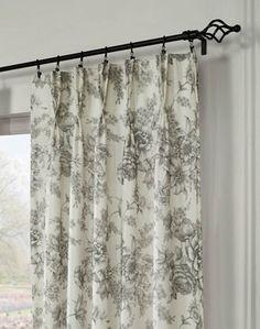 Hampton Toile Pinch Pleat Window Curtain Panel