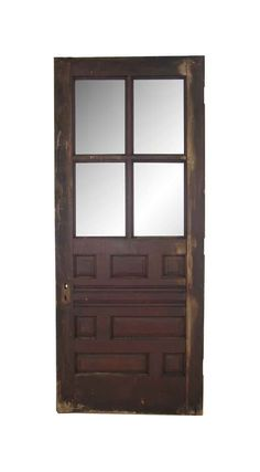 Dark tone wood pine door with four top lites and seven bottom wood panels. Priced each. Arched Doors, Entry Doors, Antique Doors, Antique Art, Pine Doors, Four Tops, Antique Interior, Pocket Doors, Closet Doors