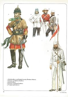 1:British officer,2nd Punjab Cavalry (Probyn's Horse).2:Private,1st Madras Fusiliers.3:British officer.4:Private,1st Bengal Fusiliers.5:Trooper,9th Lancers.