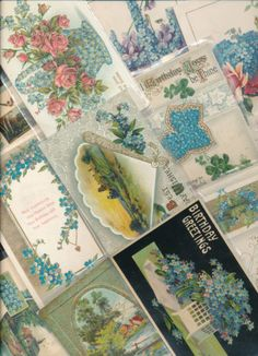 Nice-Lot-of-23-VICTORIAN-FORGET-ME-NOTS-blue-FLOWERS-greetings-Postcards-rrr82