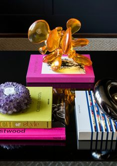 colorful coffee table accents and books