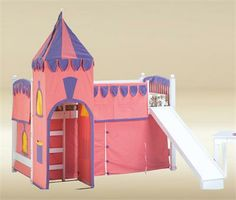 14 Fabulous Girls Castle Bed With Slide Toddler Loft Beds, Loft Bunk Beds, Kids Bunk Beds, White Kids Furniture, Kids Room Furniture, Princess Loft Bed, Princess Castle, Castle Bed, Pink Castle