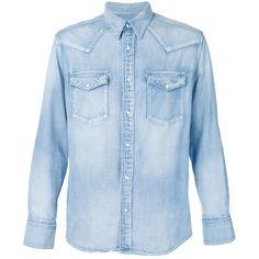 Visvim Patch Denim Shirt ($745) ❤ liked on Polyvore featuring men's fashion, men's clothing, men's shirts, men's casual shirts, blue, mens blue shirt, mens light blue denim shirt and mens denim shirt