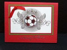 Handmade Christmas card  soccer ball on red by TheLanguageofPaper, $4.50