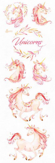 Unicornios. Imágenes Prediseñadas acuarela mágica. Cuento de