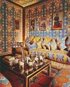 In the 1970s fashion star Valentino lavished a sitting room at his country house near Rome with an Orientalist fabric of his own design. Indian glass paintings hang above the sofa, while a menagerie of Roberto Estevez ostrich-egg objets d'art is clustered on the cocktail table. The Moroccan carpet adds yet another layer of pattern.