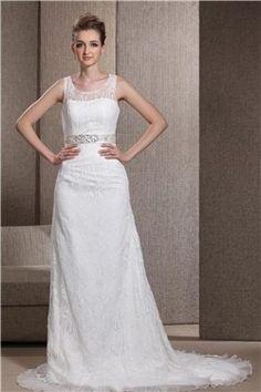 Günstige Brautkleider mit Spitze aus Satin Kolumne mit Schleppe
