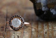 ice diamond ring with black diamond halo  ::  Alexis Russell