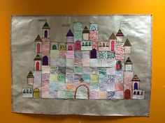 Collective fort in graphic squares – The category of Teet and Marlou Kindergarten Anchor Charts, Kindergarten Units, Chateau Moyen Age, Castle Crafts, Classroom Art Projects, Château Fort, Art N Craft, Prince And Princess, Art Plastique