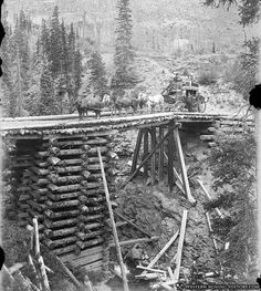 High bridge on the Ouray Stage Line between Ouray and Silverton ca 1890s.