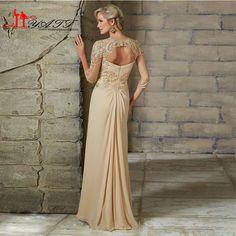 New Elegante Mãe dos Vestidos de Noiva 2016 Plus Size meia Manga Lace Chiffon Mãe Da Noiva Vestido de Noite Formal Do Partido vestidos